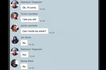 Así sería el chat grupal de los protagonistas de Game Of Thrones