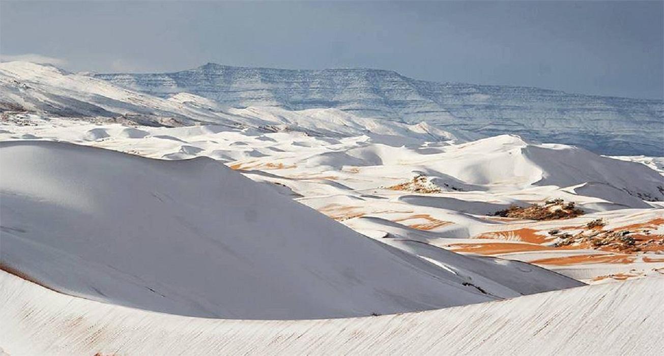 Las impresionantes postales del desierto Sahara nevado