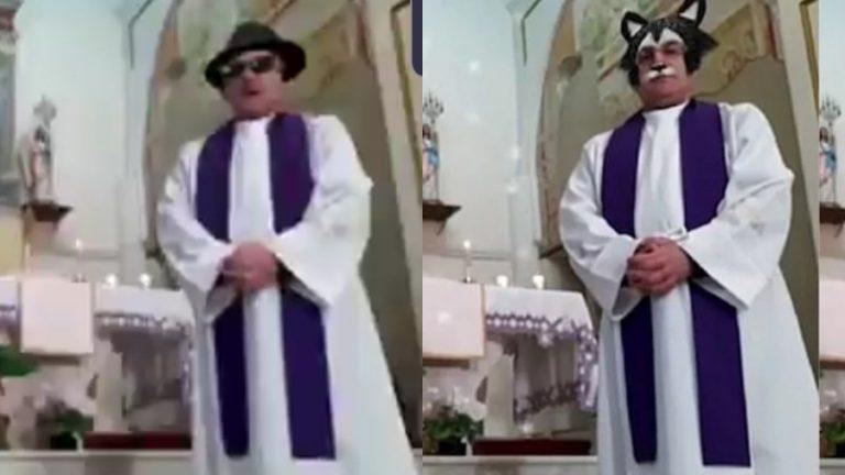 [VIDEO] Sacerdote ofrece misa en línea activando los filtros por accidente