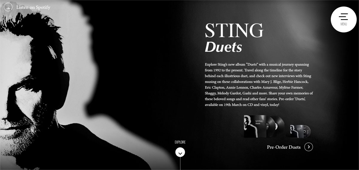 Sting Duets Sitio Web