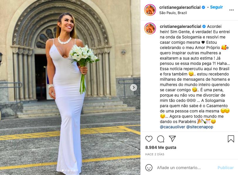 Cris Galera Instagram Se Casó Con Ella Misma