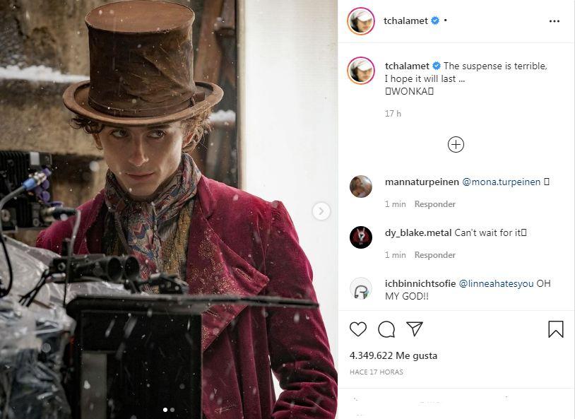 Timothée Chalamet Willy Wonka Instagram